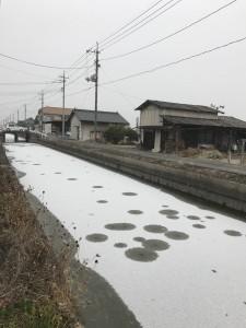 川が凍ってる('Д')